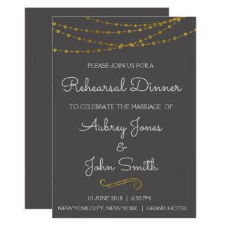 Gold Foil String Lights & Script Rehearsal Dinner Card