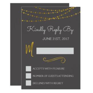 Gold Foil String Lights & Script RSVP Reply Card