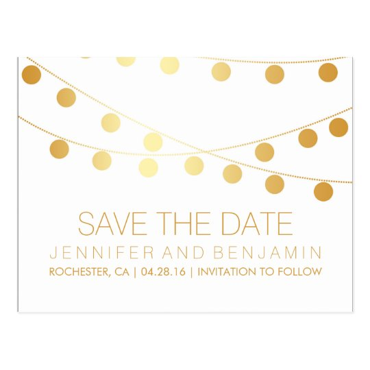 Gold Foil String of Lights Save the Date