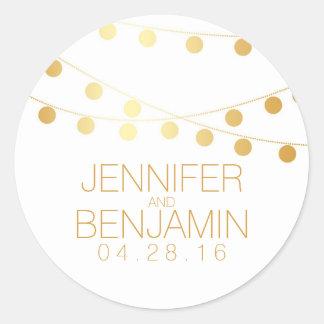 Gold Foil String of Lights Wedding Round Sticker