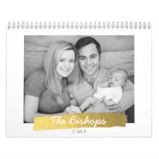 Gold Foil Stripe Photo Calendar