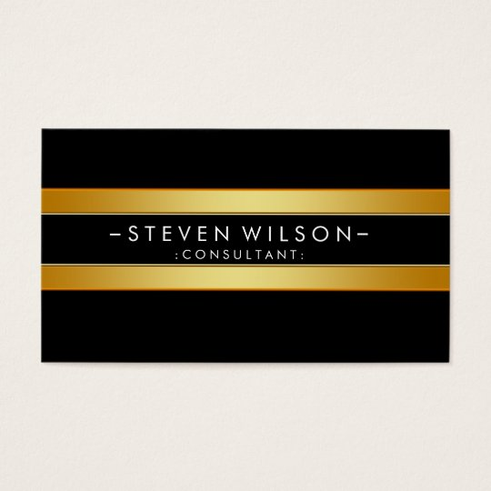 Gold Foil Striped Elegant Retro  Black Business Card