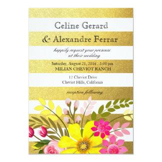 Gold Foil Striped Folklore Flowers Wedding yellow 13 Cm X 18 Cm Invitation Card