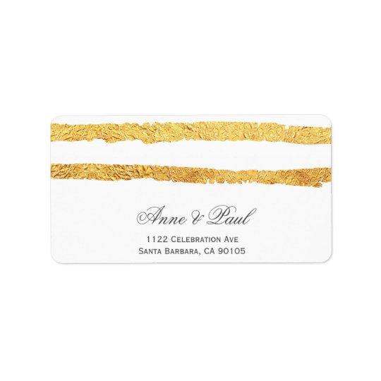 Gold foil stripes Address Labels