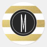 GOLD FOIL STRIPES | BLACK MONOGRAM