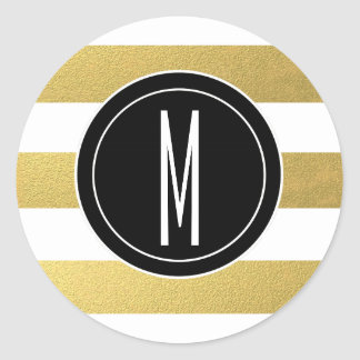 GOLD FOIL STRIPES | BLACK MONOGRAM CLASSIC ROUND STICKER