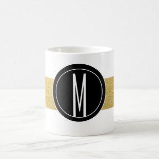 GOLD FOIL STRIPES | BLACK MONOGRAM COFFEE MUG
