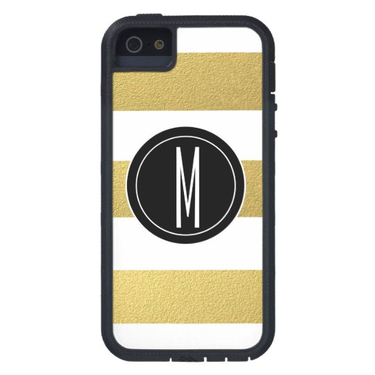 GOLD FOIL STRIPES | BLACK MONOGRAM iPhone 5