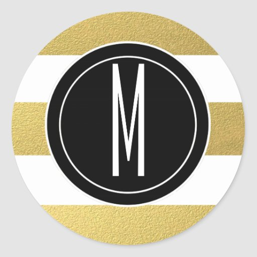 GOLD FOIL STRIPES | BLACK MONOGRAM ROUND STICKERS