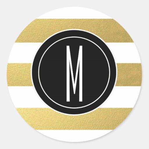 GOLD FOIL STRIPES | BLACK MONOGRAM ROUND STICKER