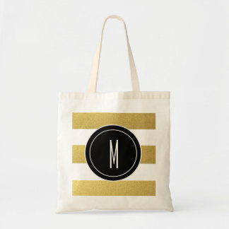 GOLD FOIL STRIPES | BLACK MONOGRAM TOTE BAG