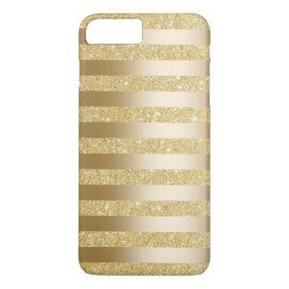 Gold Foil Stripes Faux Glitter iPhone 7 Plus Case