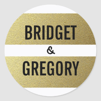 Gold Foil Stripes Wedding Classic Round Sticker