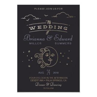 Gold foil Sun and Moon Wedding Invitation
