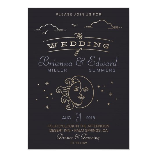 Gold foil Sun and Moon Wedding Invitation