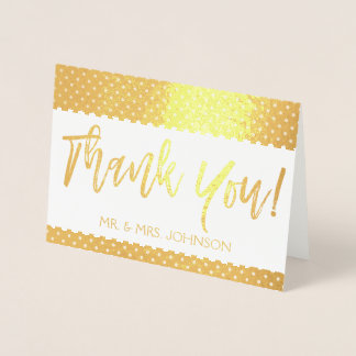 Gold Foil Thank You Card From the Bride and Groom