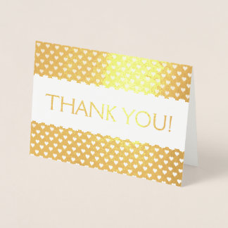 Gold Foil Thank You Card with Heart Pattern