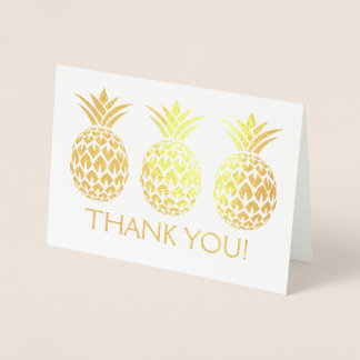 Gold Foil Thank You Card with Pineapple Pattern