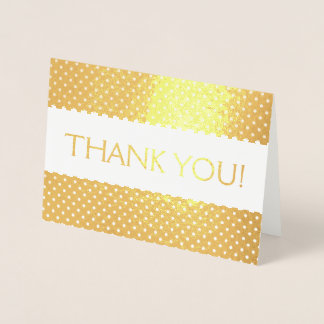 Gold Foil Thank You Card with Polka Dot Pattern