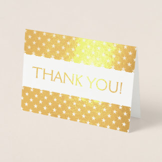 Gold Foil Thank You Card with Star Pattern