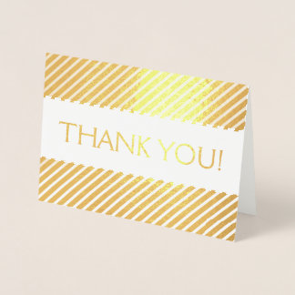 Gold Foil Thank You Card with Stripe Pattern