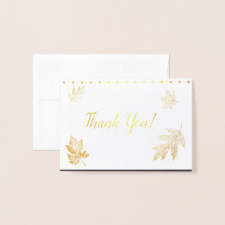 Gold Foil Thank You Leaves Foil Card