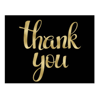 Gold foil thank you postcards