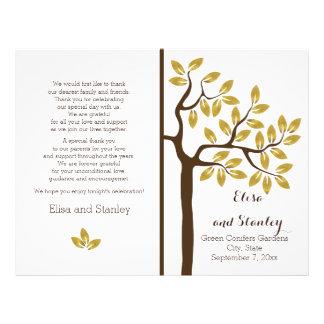 Gold foil tree modern folded wedding program 21.5 cm x 28 cm flyer
