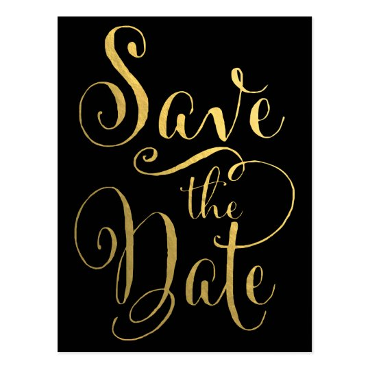 Gold Foil Typography Save the Date Postcard