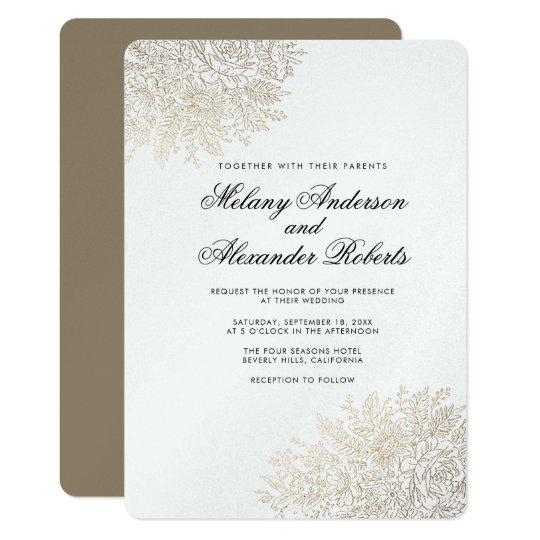 Gold Foil Vintage Lace Elegant Wedding Invitation
