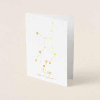 Gold Foil VIRGO Zodiac Sign Constellation Foil Card