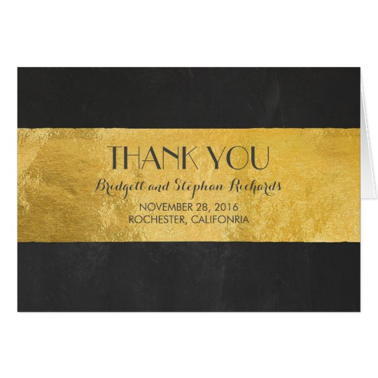 Gold Foil Wedding Modern Thank You Card