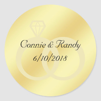 Gold Foil Wedding Monogram Sticker Wedding Rings