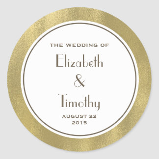 Gold Foil Wedding Round sticker