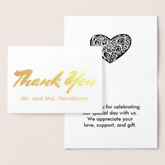 Gold Foil Wedding Thank You Card