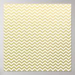 Gold Foil White Chevron Pattern