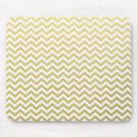 Gold Foil White Chevron Pattern Mouse Mat