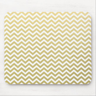 Gold Foil White Chevron Pattern Mouse Mat