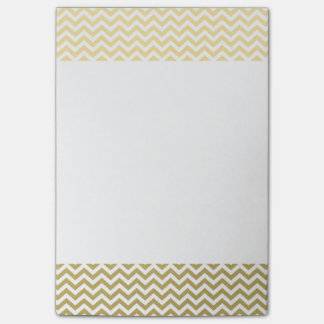 Gold Foil White Chevron Pattern Post-it Notes