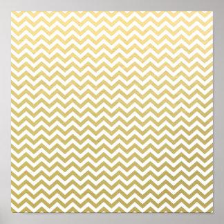 Gold Foil White Chevron Pattern Poster