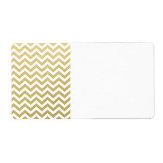 Gold Foil White Chevron Pattern Shipping Label