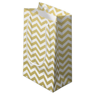 Gold Foil White Chevron Pattern Small Gift Bag