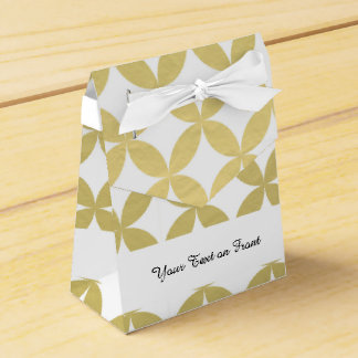 Gold Foil White Diamond Circle Pattern Favour Box