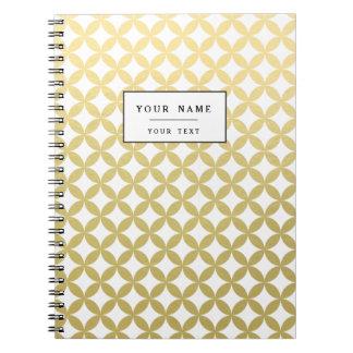 Gold Foil White Diamond Circle Pattern Spiral Notebook