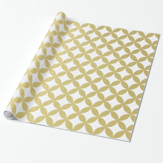 Gold Foil White Diamond Circle Pattern Wrapping Paper