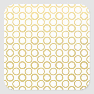 Gold Foil White Polka Dots Pattern Square Stickers