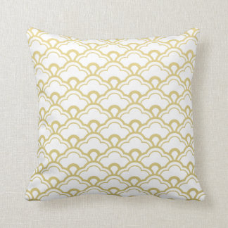 Gold Foil White Scalloped Shells Pattern Cushion