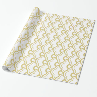 Gold Foil White Scalloped Shells Pattern Wrapping Paper