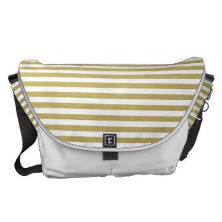 Gold Foil White Stripes Pattern Messenger Bags
