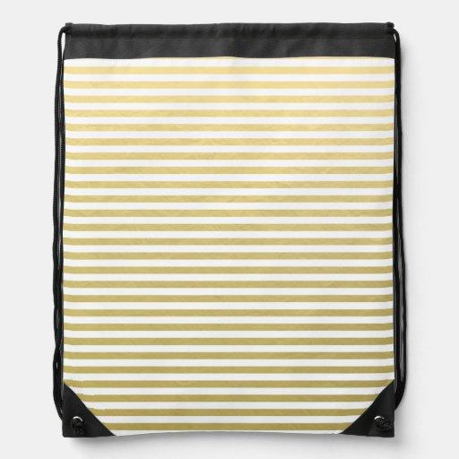 Gold Foil White Stripes Pattern Backpack